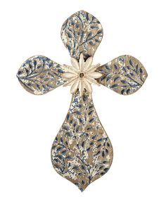 Take a look at this Midwest-CBK Ivory & Blue Distressed Leaf Cross Wall Décor today!