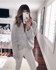 bd012e45e44e0 Chellysun Women Fuzzy Long Pullover Sweater - Grey   S