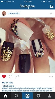 Black Gold Nails nails, black, and glitter image - Get Nails, Fancy Nails, Bling Nails, Love Nails, Hair And Nails, Fabulous Nails, Gorgeous Nails, Pretty Nails, Square Nails