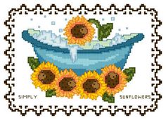 BathTub Collection Simply Sunflowers - cross stitch pattern designed by Catia Dias. Category: Whimsy.