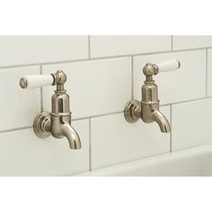 Wall Mounted Kitchen Sink Taps Classic wall mount non mixing basin taps with extensions basin perrin rowe mayan bibcocks nickel wall mounted kitchen sink tap 4322niwpc workwithnaturefo