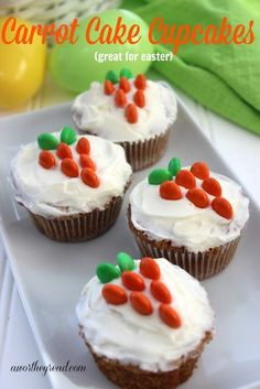 Recipe for Carrot Cake Cupcakes, Great For Easter! Cute creative cupcake recipe to make for Easter or just because you love Carrot Cake!