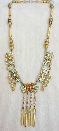 Gorgeous Vintage Art Deco Czech Crystal Enamel Necklace | eBay