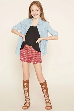 Girls Geo Print Shorts (Kids) #kids