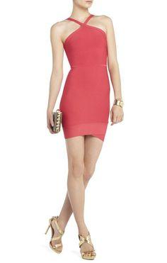 Herve Leger Halter Sugi Criss Cross Bandage Red Dress