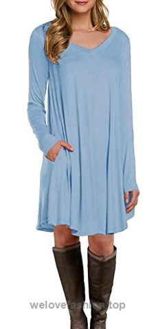 942c294c954 LILBETTER Women s Long Sleeve Pocket Casual Loose T-Shirt Dress (Light Blue  S)