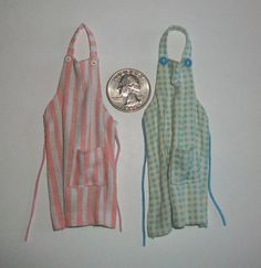 Pair of Miniature Kitchen Aprons 1 inch by MarquisMiniatures, $20.00