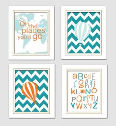 Dr Seuss Nursery, Oh the places you will go, Orange and teal nursery, Nursery Quad, set of 4 8X10, Choose your colors