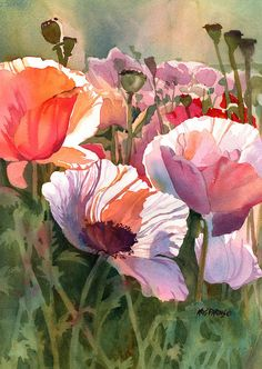 Kris Parins Print featuring the painting Poppy Madness by Kris Parins