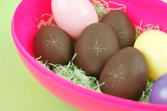 chocolate creme eggs- 1 package (16 oz) Chocolate  CANDIQUIK® Candy Coating  1/2 cup light corn syrup  1/4 cup butter  3/4 teaspoon vanilla  1/4 teaspoon salt  2-1/4 cups powdered sugar,  sifted  3 drops yellow food coloring