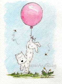 Westie perro Art Print - llevar Westie - 5 x 7 archivo PRINT - Terrier con globo verde