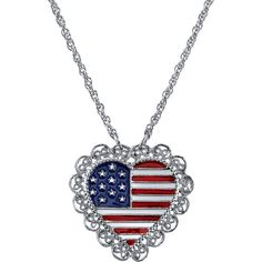1928 American Flag Heart Necklace (White/Silver/Red) ($18) ❤ liked on Polyvore featuring jewelry, necklaces, 1928 jewelry, lobster claw clasp charms, heart charms, silver jewelry and red heart necklace