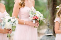 Gorgeous bridesmaid bouquets Floral design by Kari Shelton | Camp Lucy | Sacred Oaks | Al Gawlik Photography | Blush roses, bridesmaid bouquet
