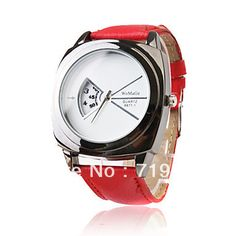 Free Shipping Fashionable Quartz Wrist Watch with Red PU Leather Band on AliExpress.com. $7.63