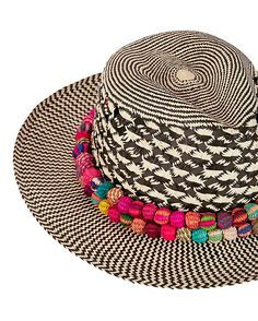 Valdez Panama Caliente Trim Panama Hat: The artisanal handcrafted multi colored trim on this panama hat can truly only be described as caliente . 2 1/2 brim. In black/natural. Fabric: 100% toquilla straw   Made in ...