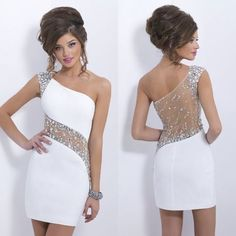 One shoulder homecoming dresses, white homecoming dresses, cute homecoming dresses, cheap homecoming dresses from Dress Time - Best Outfits Ideas 2019 Dance Dresses, Sexy Dresses, Evening Dresses, Short Dresses, Dress Outfits, Blush Dresses, Cheap Dresses, White Homecoming Dresses, Prom Dresses