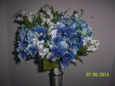 Bridal Floral Wedding Bouquet Beautifully Handcrafted White and Blue flowers