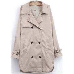 Grey Lapel Long Sleeve Pockets Trench Coat | pariscoming