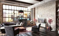 backstein wandverkleidung grau shabby stil modern grau parkett loft
