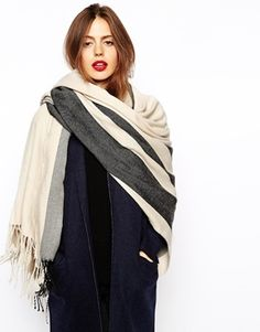 ASOS Oversized Scarf With Stripes - Stone