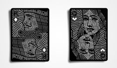The Black Book by UnCommon Beat // The Black Book of Cards by UnCommon Beat is a playing card deck which features typographic portraits. The meticulous process of building each word to form the faces delivers a tangible appearance without the use of shading. // www.lookslikegooddesign.com/typography-by-uncommon-beat/