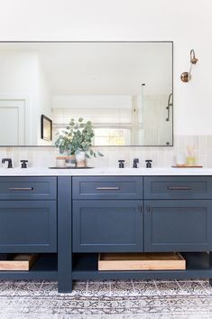 Wonderful Dark Blue Vanity Cabinet With Textured And Printed Floor For Amazing Bathroom Ideas With Super Large Mirror, Actress Vanity, Blue Bathroom Vanity Cabinet Blue Bathroom Vanity, Bathroom Vanity Mirror, Bathroom Interior, Boys Bathroom, Bathroom Remodel Master, Interior, Amber Interiors, Home Decor, Bathroom Design