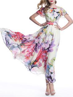 Pink Boho Floral Maxi Dress Floral Chiffon Maxi Dress, White Maxi Dresses, Boho Dress, White Dress, Bohemian Dresses, Floral Dresses, Pink Dress, Floral Fashion, Pink Fashion