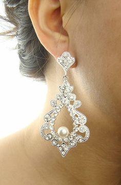Bridal Chandelier Earrings Statement Wedding by luxedeluxe on Etsy