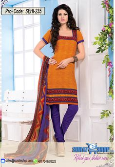 Orange & Blue Salwar Kameez, Top:fabric amarican 2.00 mtrs, Bottom:fabric amarican 2.00 mtrs, Dupatta:fabric chiffon 2.25 mtrs   Visit: http://surateshop.com/product-details.php?cid=2_27_44&pid=11810&mid=0