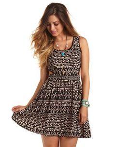 cutout tribal a-line dress