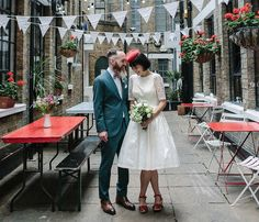 A Red Pillbox Hat and Swedish Hasbeens for an Intimate Cafe Wedding