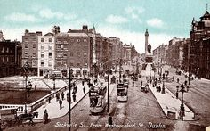 Sackville Street, from Westmoreland Street. Sackville Street was named after Lionel Cranfield Sackville, Duke of Dorset and Lord Lieutenant Ireland Pictures, Old Pictures, Old Photos, Dublin House, Dublin City, City Library, Photo Engraving, Picture Cards, Dublin Ireland