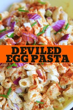 Deviled egg pasta salad with macaroni. Light on the mayo and big on flavor, this dish is a hit at cookouts or summer gatherings! Great way to use leftover hard boiled eggs. for parties Best Egg Recipes, Yummy Pasta Recipes, Easy Salad Recipes, Summer Recipes, Beef Recipes, Cooking Recipes, Favorite Recipes, Punch Recipes, Party Recipes