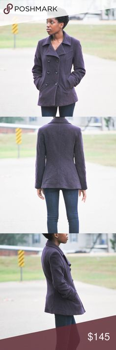Amazing Anne Klein  purple wool winter pea-coat Would make the perfect pea coat for the winter! In great condition.nice warm and comfortable fit.two front pockets .this jacket is apart of today's latest winter  fashion trend Anne Klein Jackets & Coats Pea Coats