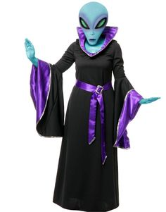 Adult Womens Purple And Black Alien Queen Witch Space Gown Costume | eBay