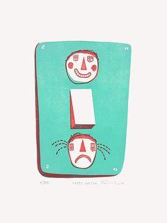 Knallbraun (Mo Feitknecht) Happy Switch Linoldruck Linolschnitt Druckgrafik Grafik Mickey Mouse, Poster, Paper Size, Graphic Prints, Sad, Red, Nice Asses, Kunst, Pictures