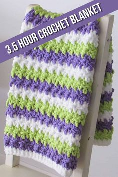This free crochet baby blanket pattern is a super quick pattern perfect for beginners. This chunky afghan is easy and can be worked in just 3.5 hours. You can make it for your baby or as a throw for your home. #corchetblanket, #freecrochetblanket, #easycrochetblanket, #crochet Crochet Baby Blanket Free Pattern, Crochet Slipper Pattern, Easy Crochet Blanket, Baby Afghan Crochet, Afghan Crochet Patterns, Crochet Blankets, Baby Blankets, Baby Afghans, Crochet Stitches