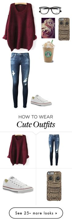 """out"" by pomeranian087 on Polyvore featuring мода, AG Adriano Goldschmied, Ray-Ban и Converse"