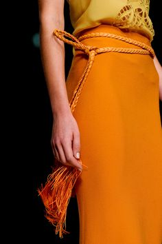 ermanno scervino at milan fashion week spring love the bright orange paired with yellow & the rope fringe belt. by concetta Fashion Details, Love Fashion, Runway Fashion, High Fashion, Fashion Show, Womens Fashion, Fashion Trends, Milan Fashion, Marchesa