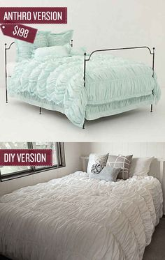 """The """"Cirrus"""" duvet makes it seem like you're sleeping on a cloud, but it certainly doesn't come with a heavenly price tag.    This tutorial shows you how to transform a few basic flat sheets into a similar looking cover."""