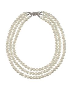 "Triple Strand Pearl Necklace, this is not my style but as my mom would also say ""every woman needs pearls, they can make you feel like a million bucks even if they cost only 10 cents"""