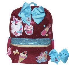 93139b3e83d9 Jojo siwa be you glitter unicorn backpack 🎒 matching blue bow wear  lipstick💄