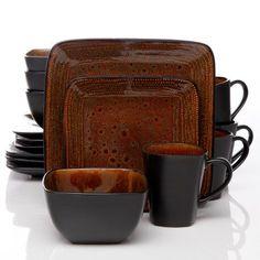 Better Homes and Gardens Bazaar Brown 16-piece dinnerware set. A ...