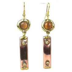 Riveting Copper and Tiger Eye Brass Earrings - Brass Images (E). Handcrafted by South African artisans, these drop brass and copper earrings feature a tiger eye stone. They hang 2 inches from brass hooks. Silver Choker, Pearl Choker, Pearl Pendant, Flower Pendant, Cross Pendant, Brass Jewelry, Custom Jewelry, Gold Jewellery, Jewelry Accessories