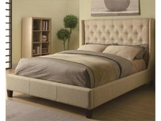 this king bed has an elegant and soft headboard available here http