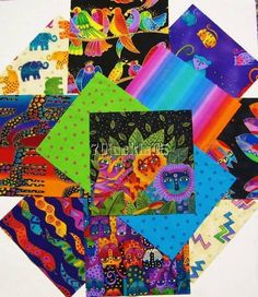 "RARE 12 JUNGLE SONGS 10""X10"" SQUARES LAUREL BURCH FABRIC 2003 COTTONS #LaurelBurch"