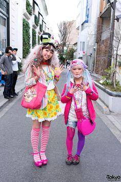 names not given, but both expressing that colorful Decora style   1 April 2013   #couples #Fashion #Harajuku (原宿) #Shibuya (渋谷) #Tokyo (東京) #Japan (日本)