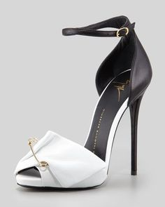 pinterest.com/fra411 #shoes -  Giuseppe Zanotti - Safety Pin Leather Sandal, Black/White