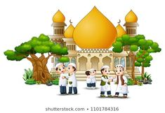 Happy Muslim Kids Cartoon in front of a mosque Islamic Images, Islamic Art, Dslr Background Images, Vector Background, Islamic Cartoon, Islam For Kids, Girly Drawings, Plant Vector, Picture Places