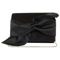 Victoria Beckham Mini Bow Clutch ($1,726) ❤ liked on Polyvore featuring bags, handbags, clutches, victoria beckham, chain purse, party clutches, mini purse and mini handbags